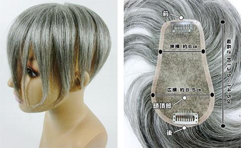 人毛の白髪のヘアピース - 天白区 植田 美容室 IMP(いんぷ)